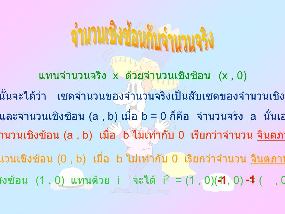 แทนจำนวนจริง x ด้วยจำนวนเชิงซ้อน (x, 0) ดังนั้นจะได้ว่า เซตจำนวนของจำนวนจริงเป็นสับเซตของจำนวนเชิงซ้อน และจำนวนเชิงซ้อน (a, b) เมื่อ b = 0 ก็คือ จำนวนจริง a นั่นเอง จำนวนเชิงซ้อน (a, b) เมื่อ b ไม่เท่ากับ 0 เรียกว่าจำนวน จินตภาพ จำนวนเชิงซ้อน (0, b) เมื่อ b ไม่เท่ากับ 0 เรียกว่าจำนวน จินตภาพแท้ จำนวนเชิงซ้อน (1, 0) แทนด้วย i จะได้ i 2 = (1, 0)(1, 0) = (, 0 ) =