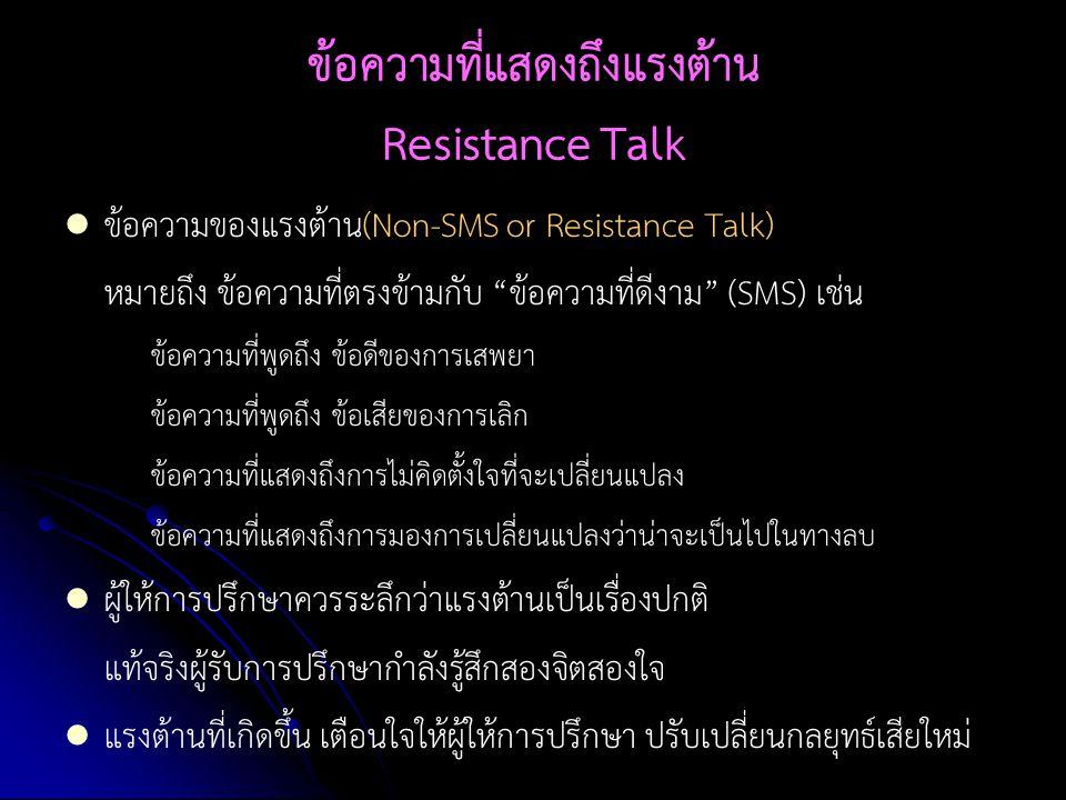"""ข้อความที่แสดงถึงแรงต้าน Resistance Talk ข้อความของแรงต้าน(Non-SMS or Resistance Talk) หมายถึง ข้อความที่ตรงข้ามกับ """"ข้อความที่ดีงาม"""" (SMS) เช่น ข้อคว"""