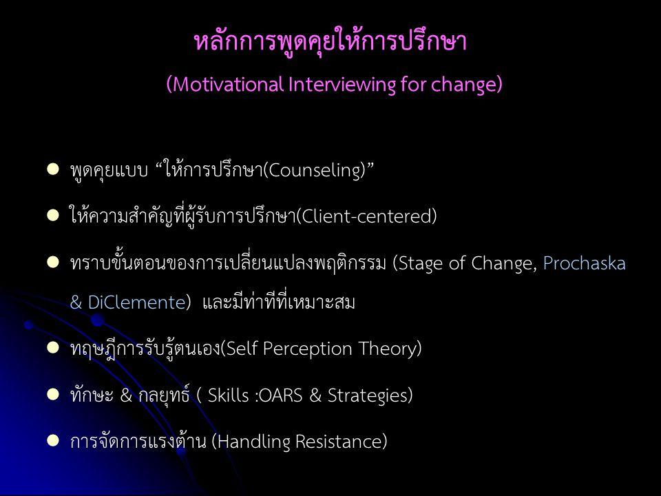 """หลักการพูดคุยให้การปรึกษา (Motivational Interviewing for change) พูดคุยแบบ """"ให้การปรึกษา(Counseling)"""" ให้ความสำคัญที่ผู้รับการปรึกษา(Client-centered)"""