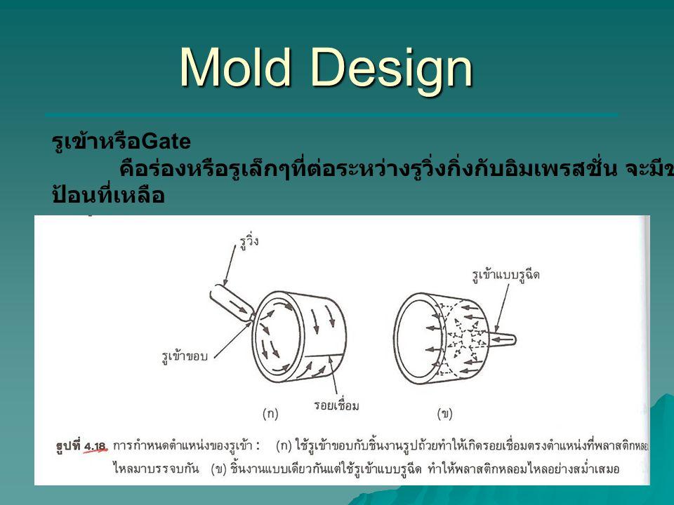 Mold Design รูเข้าหรือ Gate คือร่องหรือรูเล็กๆที่ต่อระหว่างรูวิ่งกิ่งกับอิมเพรสชั่น จะมีขนาดเล็กกว่ารูวิ่งหรือระบบ ป้อนที่เหลือ