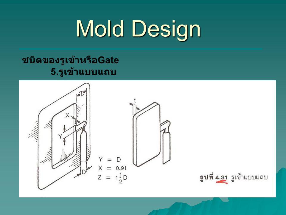 Mold Design ชนิดของรูเข้าหรือ Gate 5. รูเข้าแบบแถบ
