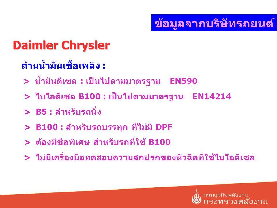 ข้อมูลจากบริษัทรถยนต์ Daimler Chrysler ด้านน้ำมันเชื้อเพลิง : > น้ำมันดีเซล : เป็นไปตามมาตรฐาน EN590 > ไบโอดีเซล B100 : เป็นไปตามมาตรฐาน EN14214 > B5