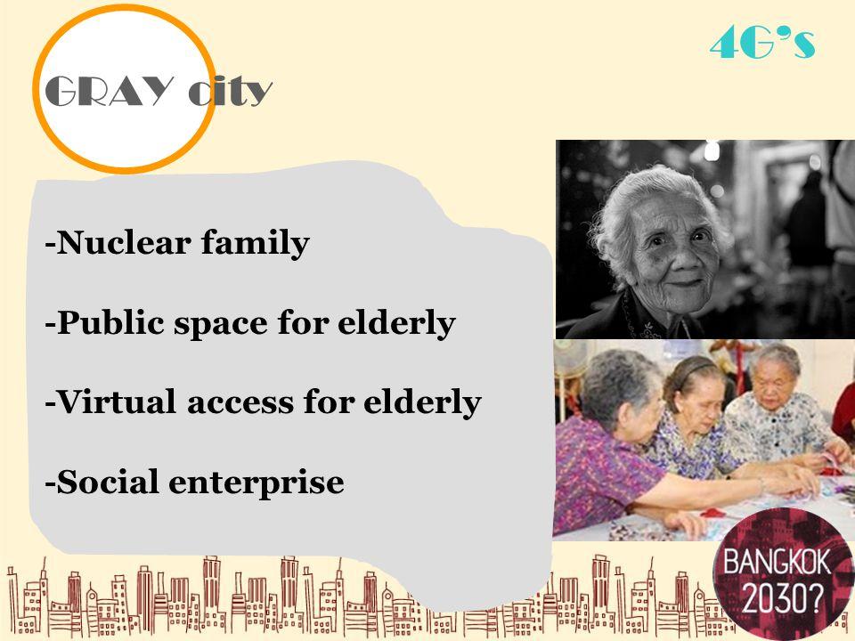 GRAY city 4G's -Nuclear family -Public space for elderly -Virtual access for elderly -Social enterprise