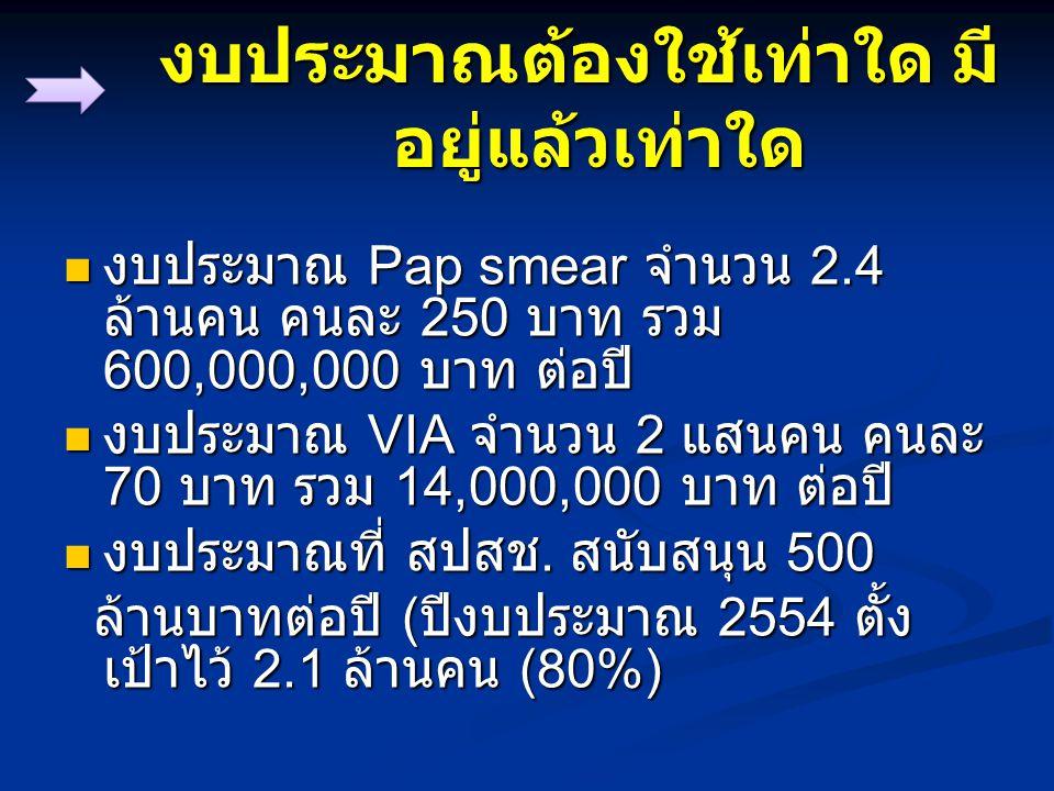 งบประมาณต้องใช้เท่าใด มี อยู่แล้วเท่าใด งบประมาณ Pap smear จำนวน 2.4 ล้านคน คนละ 250 บาท รวม 600,000,000 บาท ต่อปี งบประมาณ Pap smear จำนวน 2.4 ล้านคน