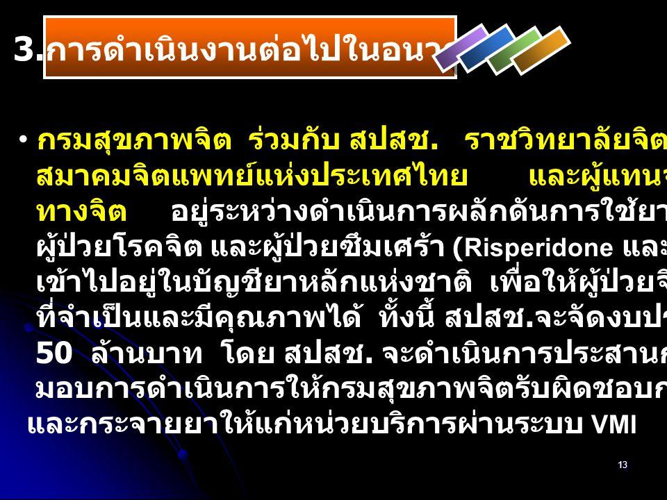 13 กรมสุขภาพจิต ร่วมกับ สปสช. ราชวิทยาลัยจิตแพทย์แห่งประเทศไทย สมาคมจิตแพทย์แห่งประเทศไทย และผู้แทนจากสมาคมผู้บกพร่อง ทางจิต อยู่ระหว่างดำเนินการผลักด