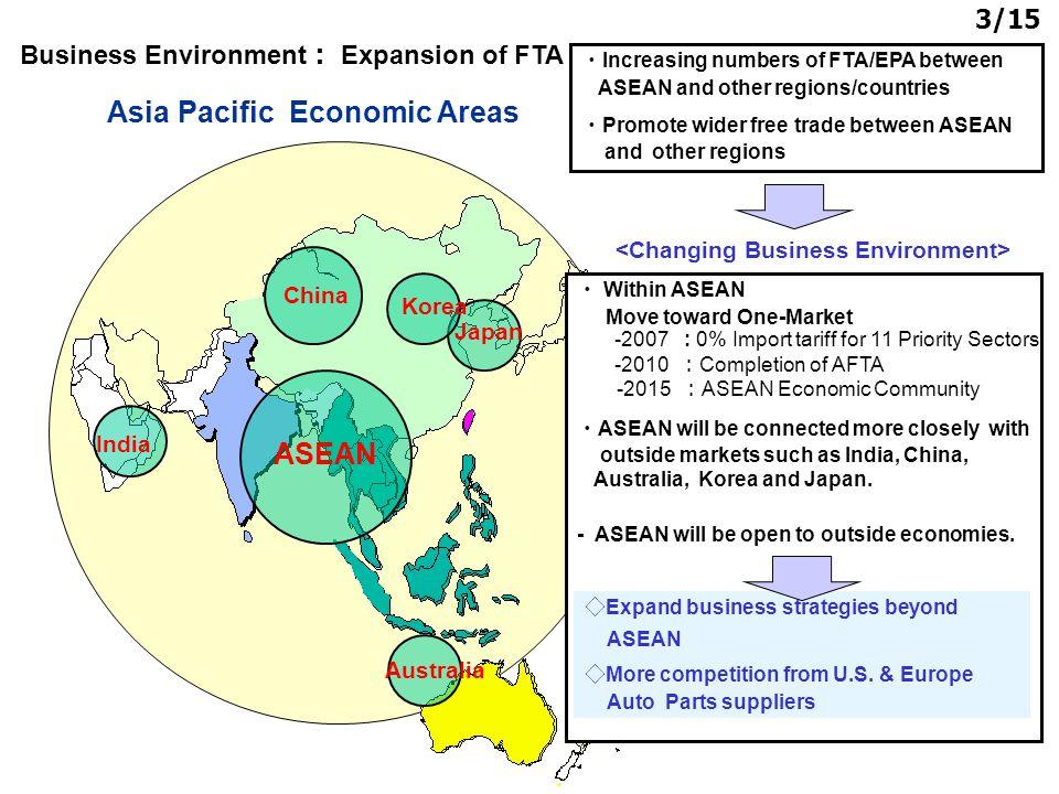 3/15 Asia Pacific Economic Areas ASEAN India Australia Japan Korea China ・ Increasing numbers of FTA/EPA between ASEAN and other regions/countries ・ P