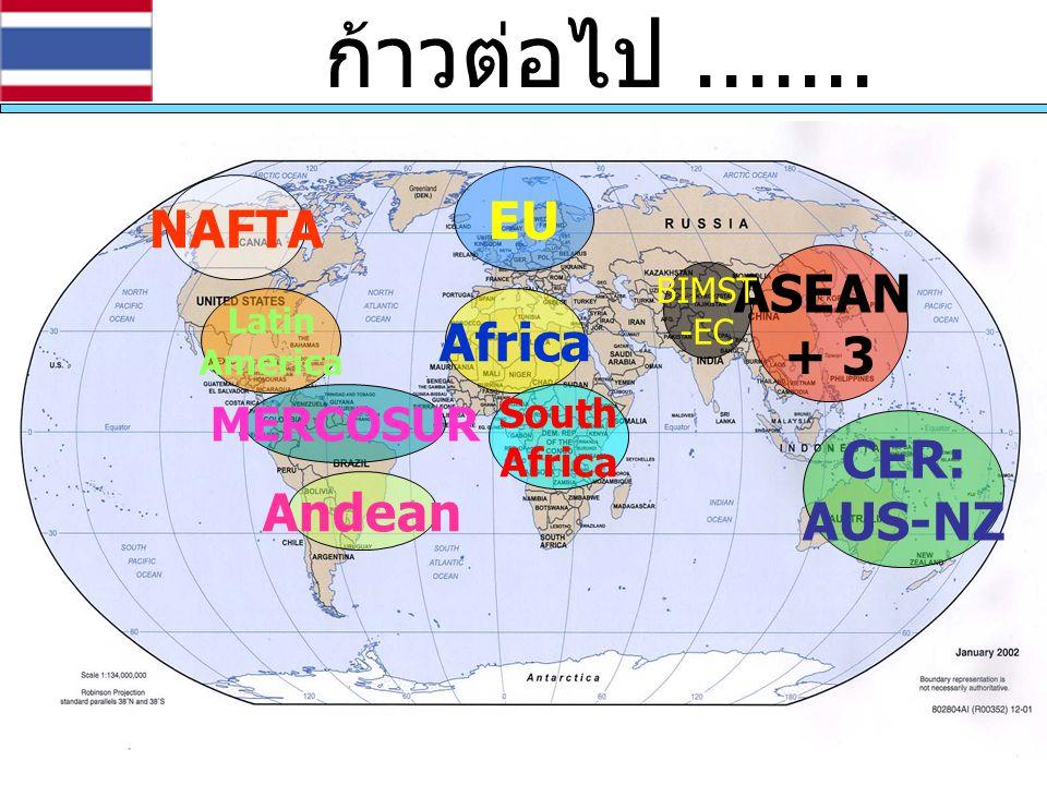 ก้าวต่อไป....... EU CER: AUS-NZ ASEAN + 3 BIMST -EC Africa South Africa NAFTA Latin America Andean MERCOSUR