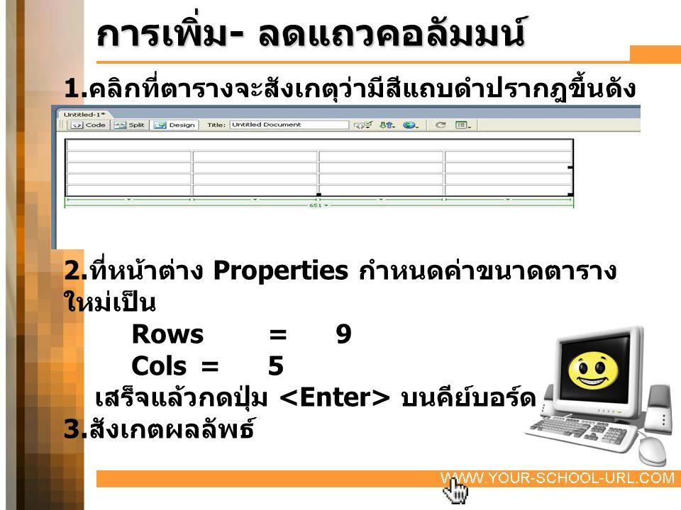 การเพิ่ม - ลดแถวคอลัมมน์ 1. คลิกที่ตารางจะสังเกตุว่ามีสีแถบดำปรากฎขึ้นดัง ภาพ 2. ที่หน้าต่าง Properties กำหนดค่าขนาดตาราง ใหม่เป็น Rows= 9 Cols=5 เสร็