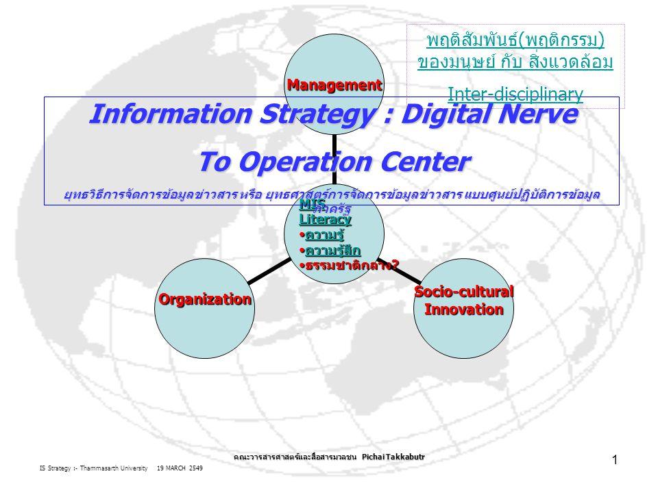 IS Strategy :- Thammasarth University 19 MARCH 2549 คณะวารสารศาสตร์และสื่อสารมวลชน Pichai Takkabutr 2 2.
