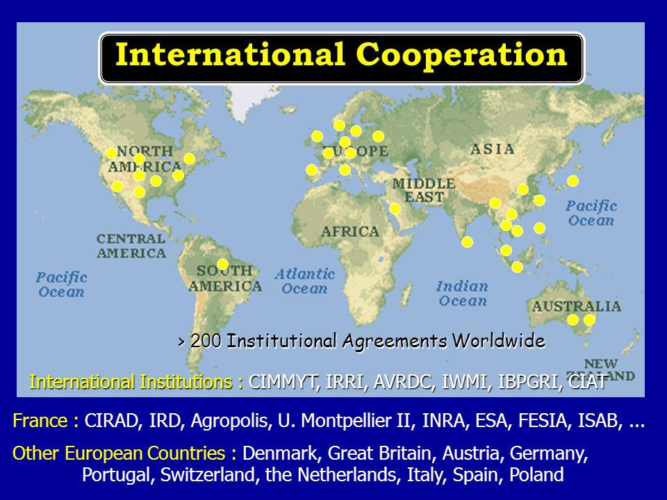 France : CIRAD, IRD, Agropolis, U. Montpellier II, INRA, ESA, FESIA, ISAB,... International Cooperation > 200 Institutional Agreements Worldwide Other