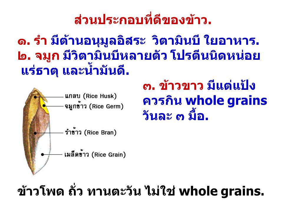 ส่วนประกอบที่ดีของข้าว. ๑. รำ มีต้านอนุมูลอิสระ วิตามินบี ใยอาหาร. ๒. จมูก มีวิตามินบีหลายตัว โปรตีนนิดหน่อย แร่ธาตุ และน้ำมันดี. ๓. ข้าวขาว มีแต่แป้ง