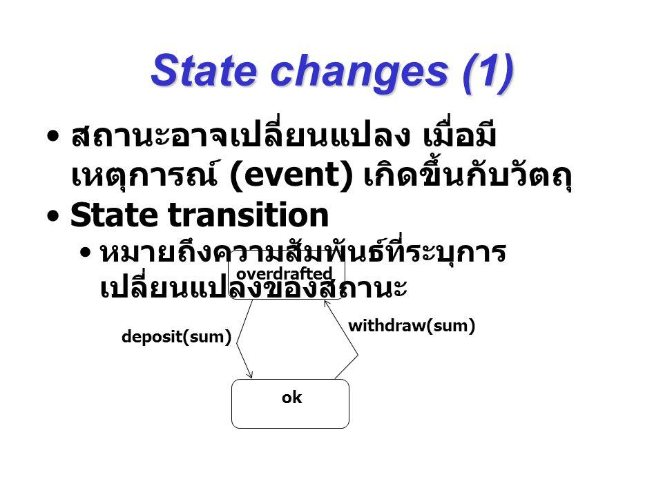 State changes (1) สถานะอาจเปลี่ยนแปลง เมื่อมี เหตุการณ์ (event) เกิดขึ้นกับวัตถุ State transition หมายถึงความสัมพันธ์ที่ระบุการ เปลี่ยนแปลงของสถานะ ov