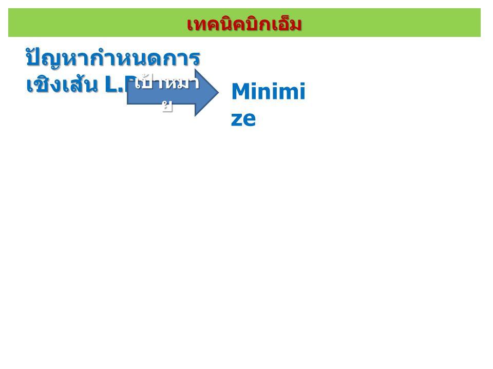 เทคนิคบิกเอ็ม ปัญหากำหนดการ เชิงเส้น L.P. เป้าหมา ย Minimi ze ข้อจำกั ด