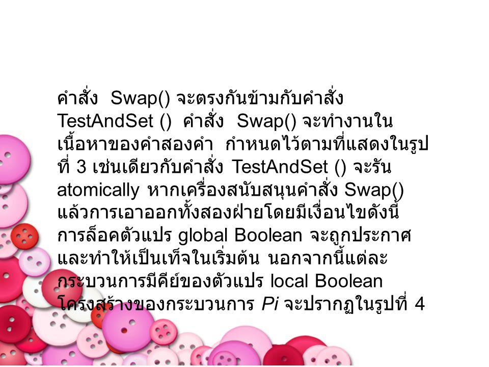 คำสั่ง Swap() จะตรงกันข้ามกับคำสั่ง TestAndSet () คำสั่ง Swap() จะทำงานใน เนื้อหาของคำสองคำ กำหนดไว้ตามที่แสดงในรูป ที่ 3 เช่นเดียวกับคำสั่ง TestAndSe