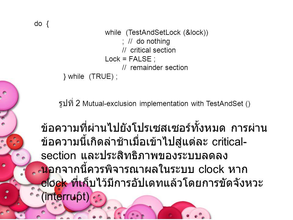 คำสั่ง TestAndSet () สามารถกำหนดไว้ตามที่ แสดงในรูปที่ 1 ลักษณะที่สำคัญคือจะรันคำสั่งนี้ atomically ดังนั้นหากคำสั่ง TestAndSet () สอง คำสั่งที่รันในขณะเดียวกัน ( แต่ทำบน CPU ที่ แตกต่างกัน ) คำสั่งนี้จะถูก รันตามลำดับในบาง ลำดับแบบสุ่ม หากเครื่องสนับสนุนคำสั่ง TestAndSet () แล้วเราสามารถทำการเอาออก ร่วมกันโดยมีการแจ้งการล็อคตัวแปร Boolean ใน การเริ่มต้นจะเป็นเท็จ โครงสร้างของกระบวนการ Pi จะแสดงในรูปที่ 2