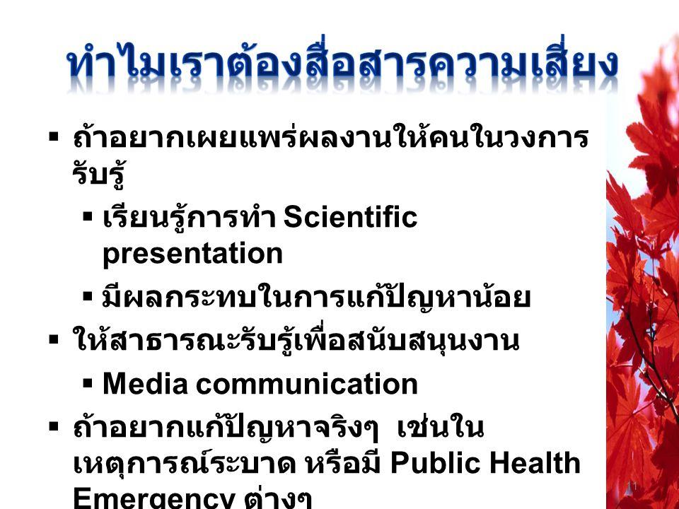 11  ถ้าอยากเผยแพร่ผลงานให้คนในวงการ รับรู้  เรียนรู้การทำ Scientific presentation  มีผลกระทบในการแก้ปัญหาน้อย  ให้สาธารณะรับรู้เพื่อสนับสนุนงาน 