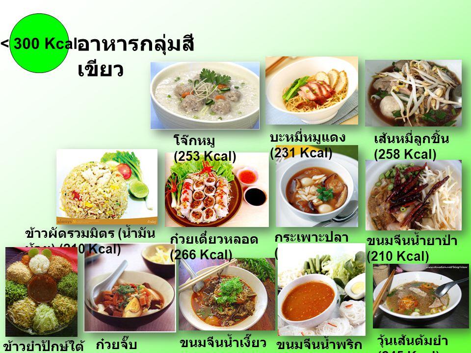 กระเพาะปลา (239 Kcal) ขนมจีนน้ำเงี๊ยว (243 Kcal) ขนมจีนน้ำยาป่า (210 Kcal) ก๋วยจั๊บ (259 Kcal) ขนมจีนน้ำพริก (228 Kcal) ก๋วยเตี๋ยวหลอด (266 Kcal) ข้าว