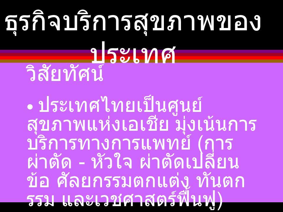 ธุรกิจบริการสุขภาพของ ประเทศ วิสัยทัศน์ ประเทศไทยเป็นศูนย์ สุขภาพแห่งเอเชีย มุ่งเน้นการ บริการทางการแพทย์ ( การ ผ่าตัด - หัวใจ ผ่าตัดเปลี่ยน ข้อ ศัลยก