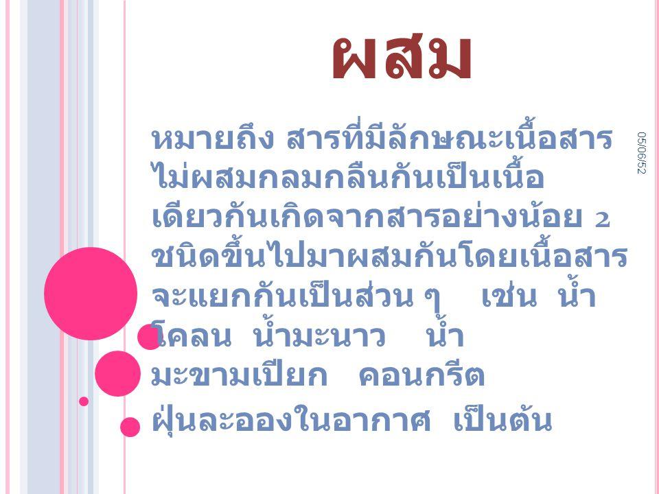 05/06/52 สารเนื้อ ผสม หมายถึง สารที่มีลักษณะเนื้อสาร ไม่ผสมกลมกลืนกันเป็นเนื้อ เดียวกันเกิดจากสารอย่างน้อย 2 ชนิดขึ้นไปมาผสมกันโดยเนื้อสาร จะแยกกันเป็นส่วน ๆ เช่น น้ำ โคลน น้ำมะนาว น้ำ มะขามเปียก คอนกรีต ฝุ่นละอองในอากาศ เป็นต้น