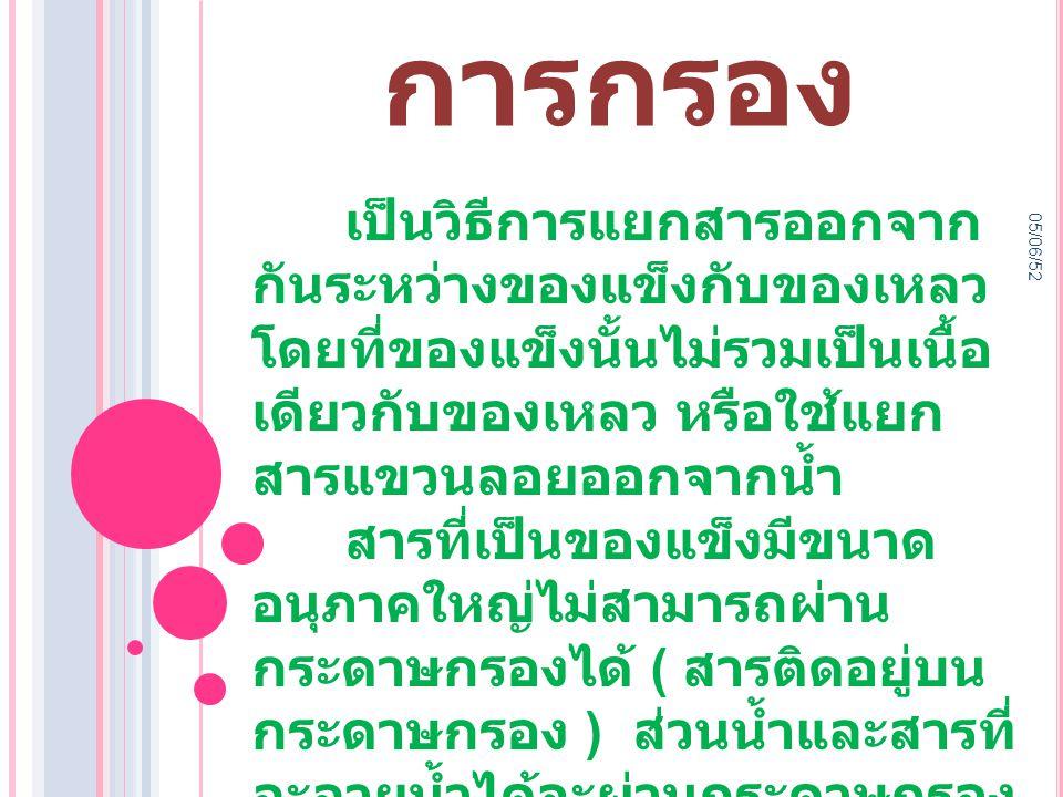 05/06/52 การ กรอง ที่มา :http://www.science.cmru.ac.th/envi/instrument/chapter1_t7.html