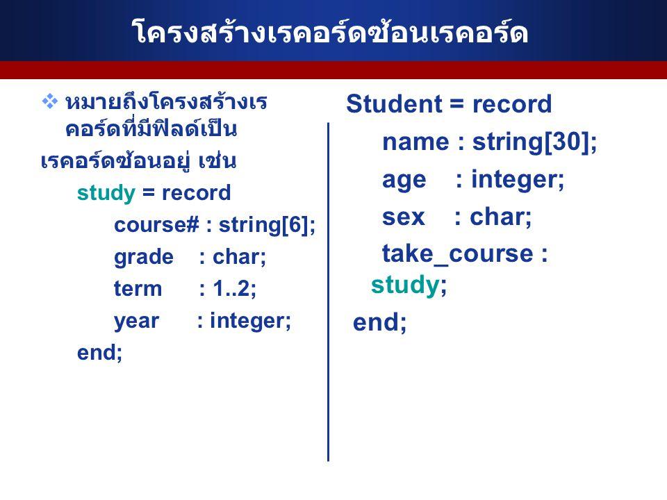โครงสร้างเรคอร์ดซ้อนเรคอร์ด  หมายถึงโครงสร้างเร คอร์ดที่มีฟิลด์เป็น เรคอร์ดซ้อนอยู่ เช่น study = record course# : string[6]; grade : char; term : 1..2; year : integer; end; Student = record name : string[30]; age : integer; sex : char; take_course : study; end;