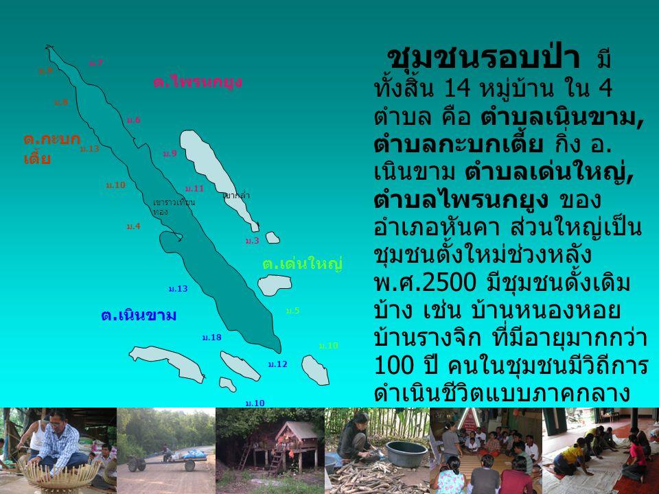 ชุมชนรอบป่า มี ทั้งสิ้น 14 หมู่บ้าน ใน 4 ตำบล คือ ตำบลเนินขาม, ตำบลกะบกเตี้ย กิ่ง อ.