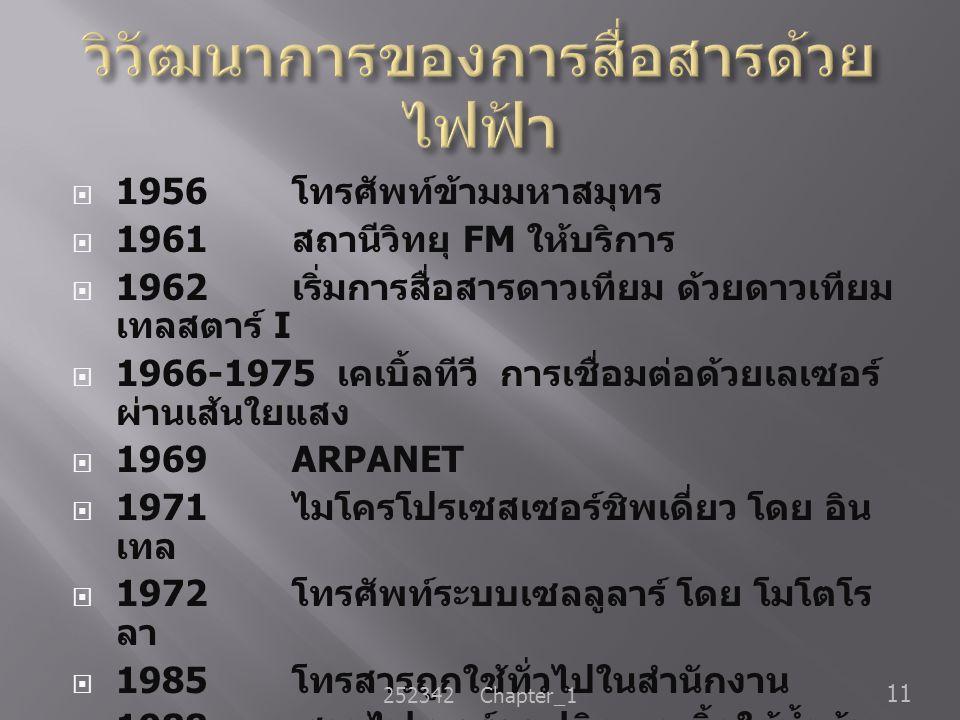  1956 โทรศัพท์ข้ามมหาสมุทร  1961 สถานีวิทยุ FM ให้บริการ  1962 เริ่มการสื่อสารดาวเทียม ด้วยดาวเทียม เทลสตาร์ I  1966-1975 เคเบิ้ลทีวี การเชื่อมต่อ