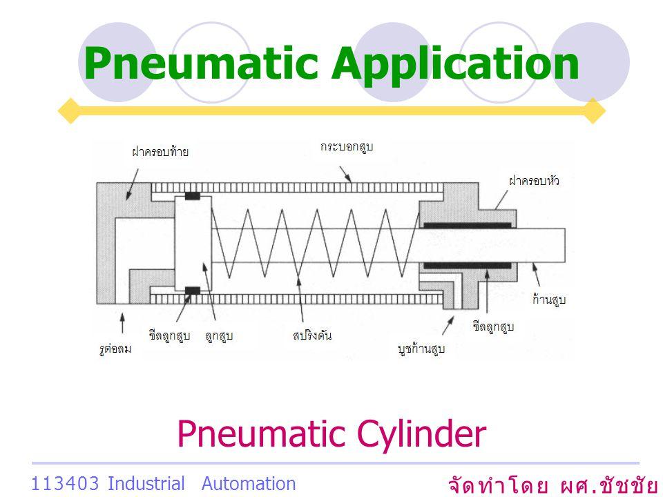 Pneumatic Application จัดทำโดย ผศ. ชัชชัย เสริมพงษ์พันธ์ 113403 Industrial Automation System Pneumatic Cylinder