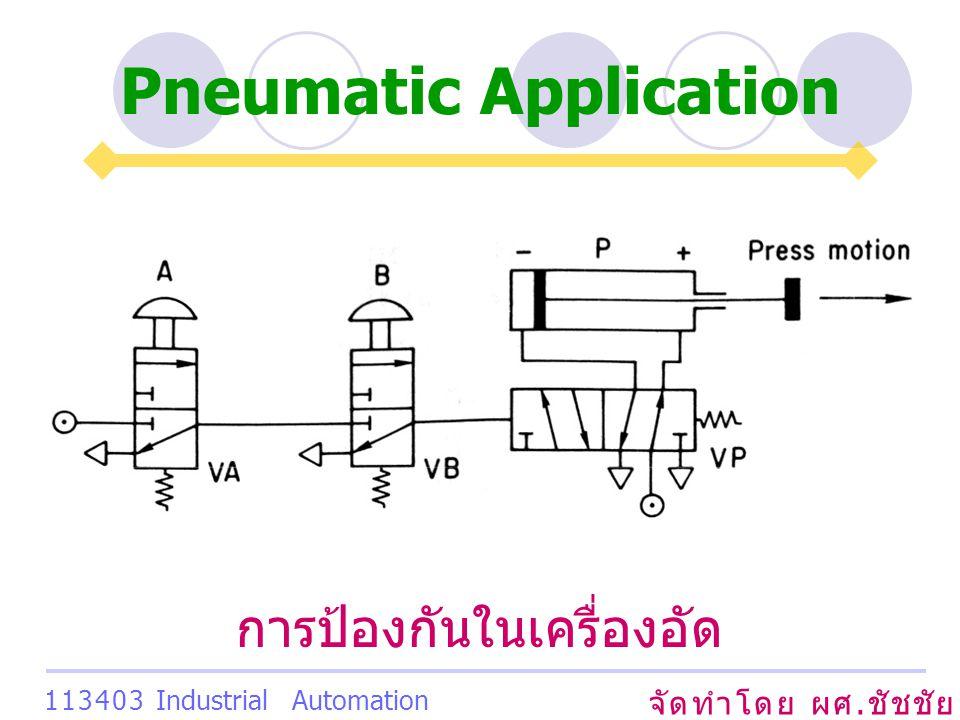 Pneumatic Application จัดทำโดย ผศ. ชัชชัย เสริมพงษ์พันธ์ 113403 Industrial Automation System การป้องกันในเครื่องอัด