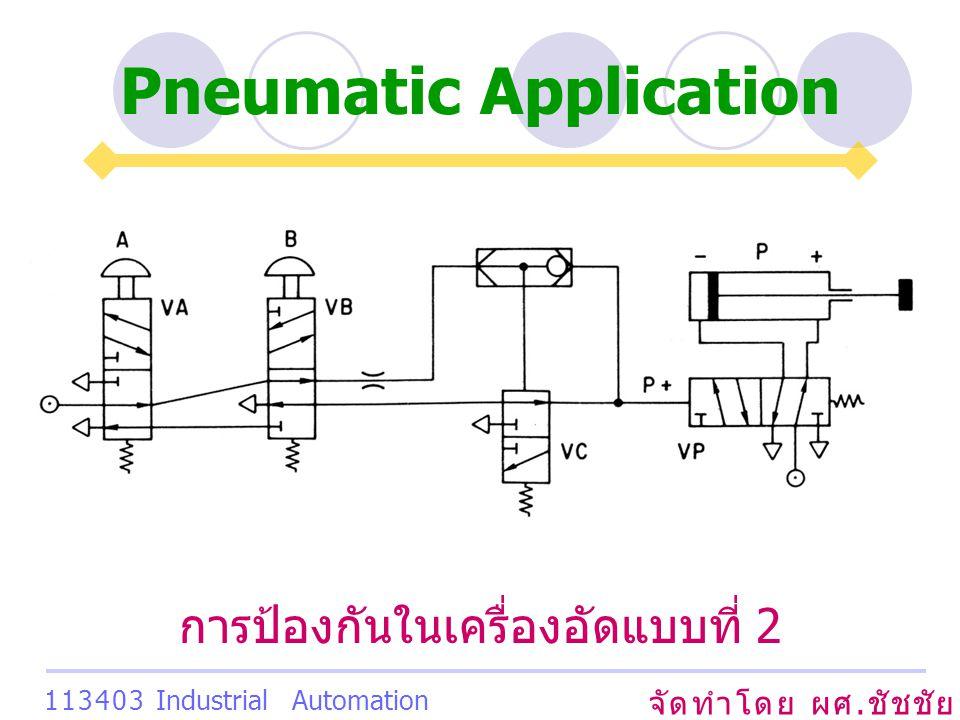 Pneumatic Application จัดทำโดย ผศ. ชัชชัย เสริมพงษ์พันธ์ 113403 Industrial Automation System การป้องกันในเครื่องอัดแบบที่ 2