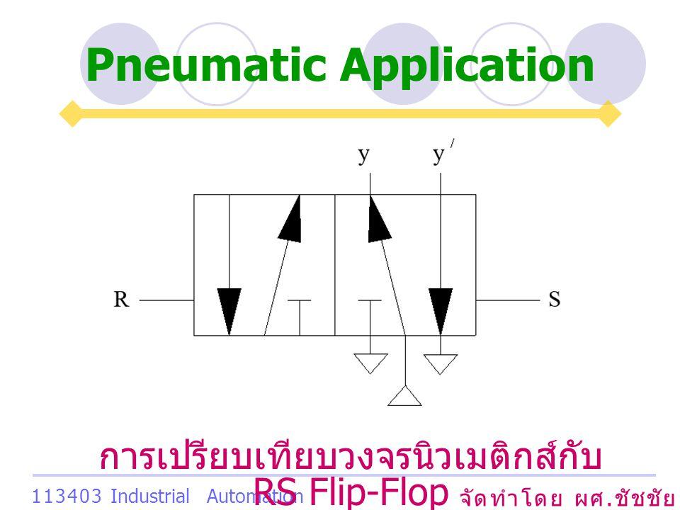 Pneumatic Application จัดทำโดย ผศ. ชัชชัย เสริมพงษ์พันธ์ 113403 Industrial Automation System การเปรียบเทียบวงจรนิวเมติกส์กับ RS Flip-Flop