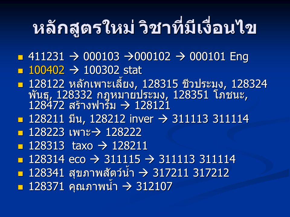 หลักสูตรใหม่ วิชาที่มีเงื่อนไข 411231  000103  000102  000101 Eng 411231  000103  000102  000101 Eng 100402  100302 stat 100402  100302 stat 1