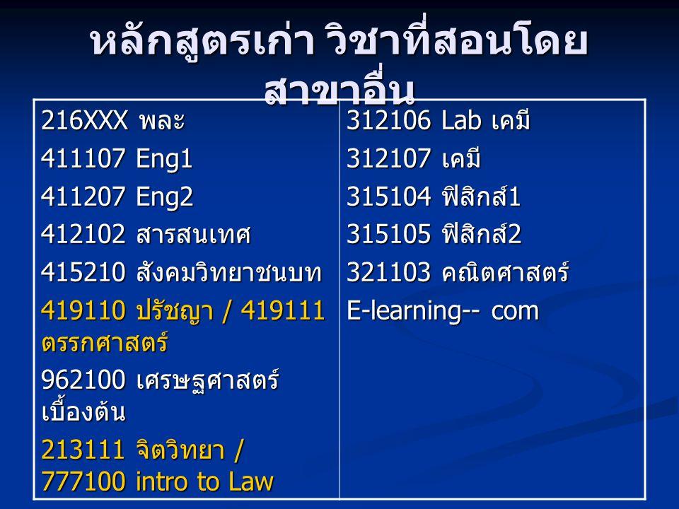 หลักสูตรเก่า วิชาที่สอนโดย สาขาอื่น 316204 สถิติเบื้องต้น 311101 ชีวะ 1 311102 Lab ชีวะ 2 311103 ชีวะ 2 311104 Lab ชีวะ 2 311243 พันธุศาสตร์ 312112 organic chem 312113 Lab or chem 317211 จุลชีวะ 317212 Lab จุลชีวะ 112202 ปฐพี 115361 co-op และ 118324 marine 100401 ระเบียบวิธีสถิติ เพื่อการวิจัย 2 118332 กฎหมายและการ อนุรักษ์ 118461 แปรรูปสัตว์น้ำ