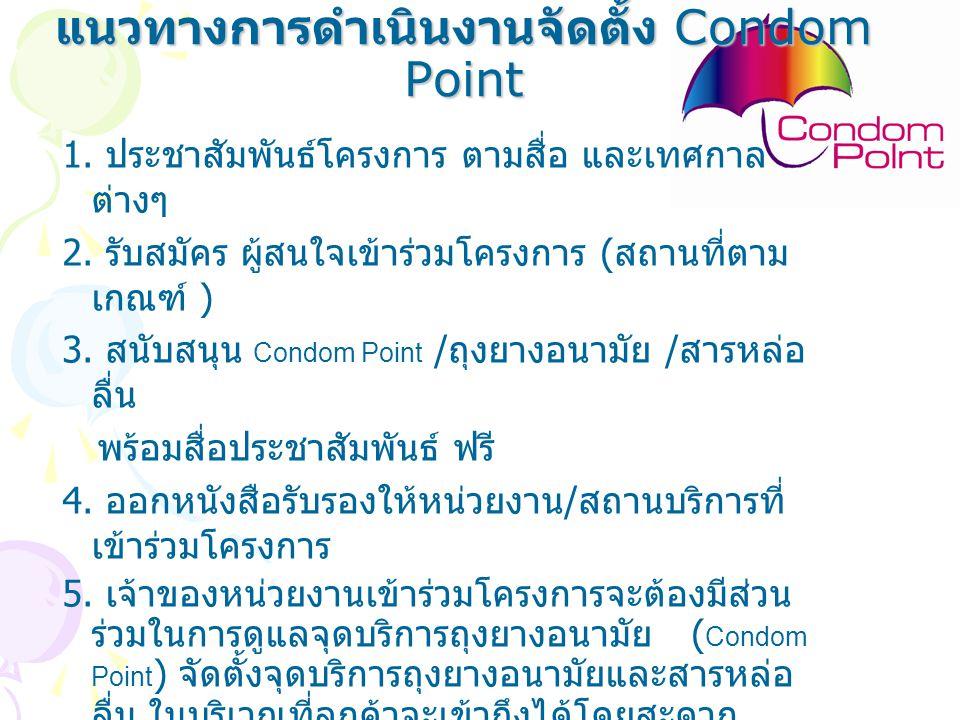 แนวทางการดำเนินงานจัดตั้ง Condom Point 1. ประชาสัมพันธ์โครงการ ตามสื่อ และเทศกาล ต่างๆ 2. รับสมัคร ผู้สนใจเข้าร่วมโครงการ ( สถานที่ตาม เกณฑ์ ) 3. สนับ