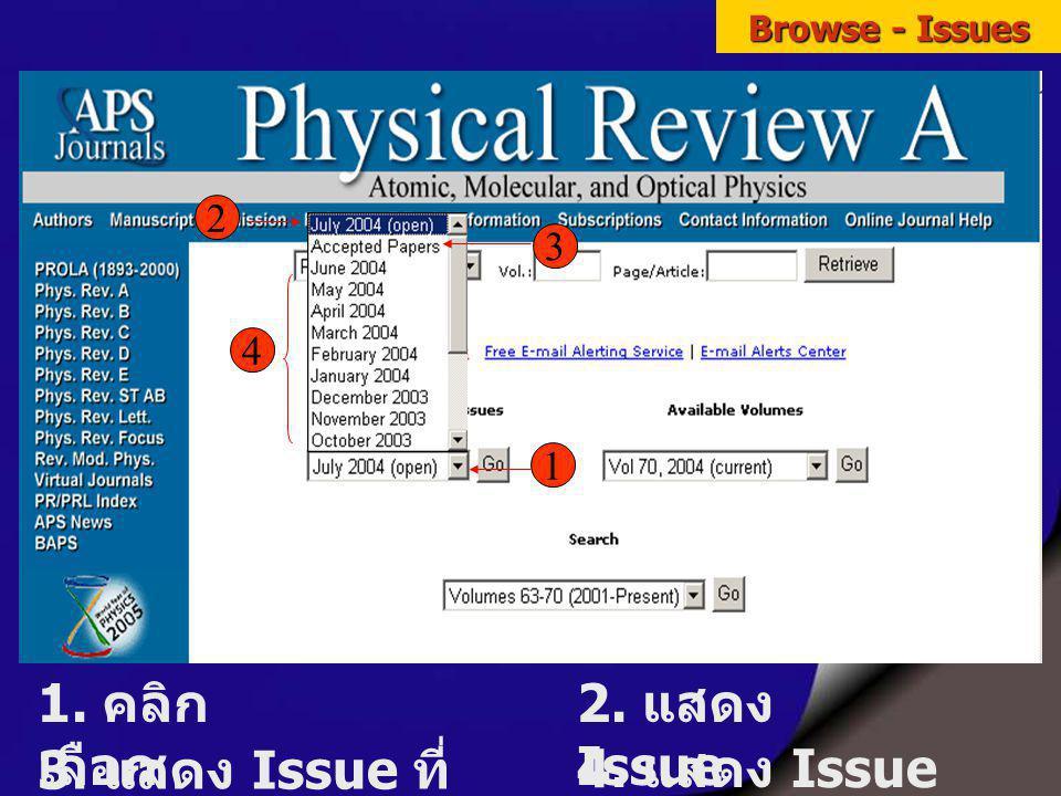 Browse - Issues 1.คลิก เลือก Issue 1 2 3 4 2. แสดง Issue ล่วงหน้า 3.