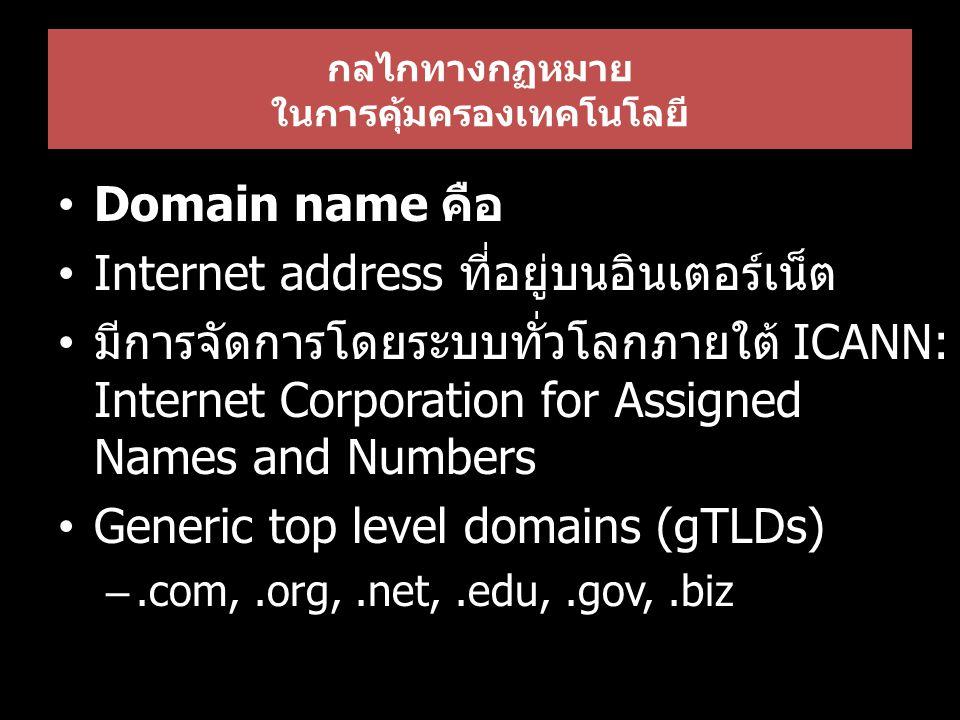 กลไกทางกฏหมาย ในการคุ้มครองเทคโนโลยี Domain name คือ Internet address ที่อยู่บนอินเตอร์เน็ต มีการจัดการโดยระบบทั่วโลกภายใต้ ICANN: Internet Corporation for Assigned Names and Numbers Generic top level domains (gTLDs) –.com,.org,.net,.edu,.gov,.biz