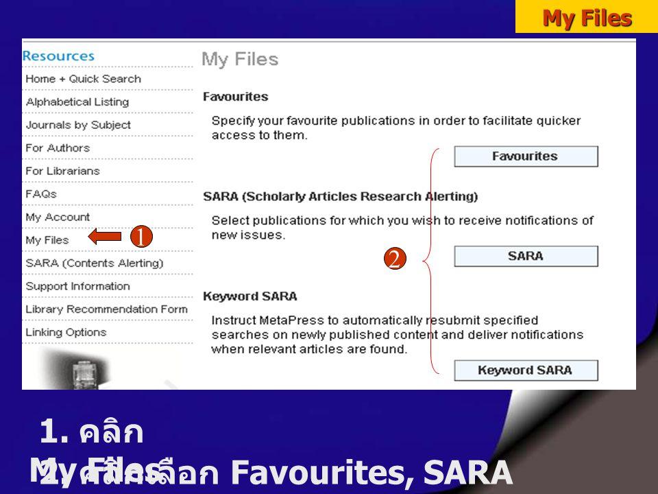My Files 1. คลิก My Files 1 2. คลิกเลือก Favourites, SARA หรือ Keyword SARA 2