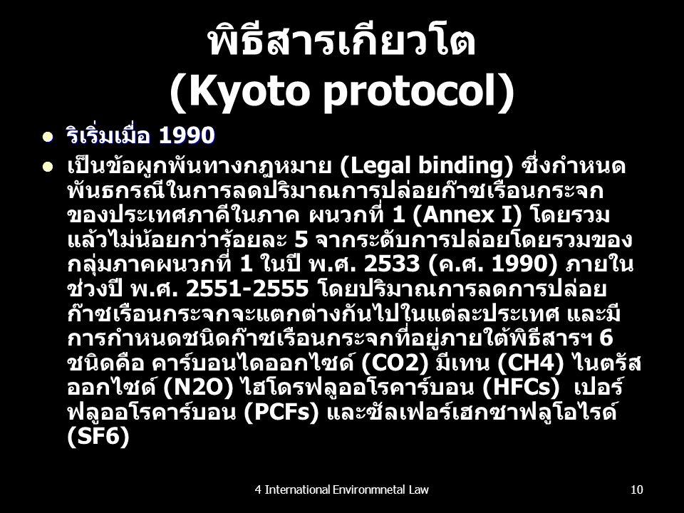 พิธีสารเกียวโต (Kyoto protocol) ริเริ่มเมื่อ 1990 ริเริ่มเมื่อ 1990 เป็นข้อผูกพันทางกฎหมาย (Legal binding) ซึ่งกำหนด พันธกรณีในการลดปริมาณการปล่อยก๊าซ