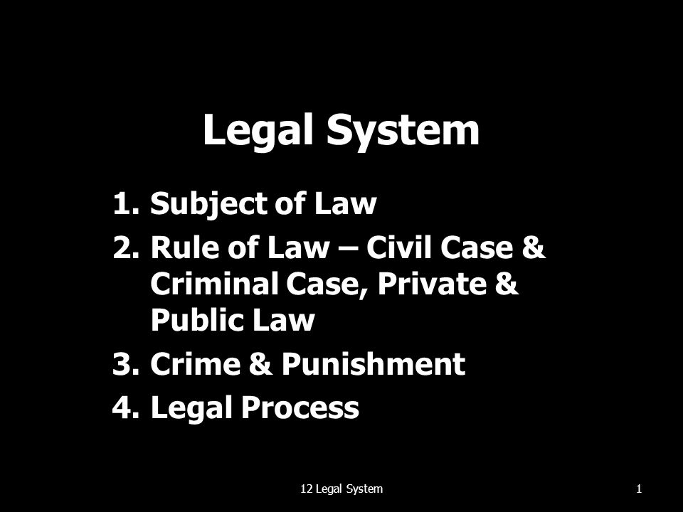 Legal System 1.Subject of Law 2.Rule of Law – Civil Case & Criminal Case, Private & Public Law 3.Crime & Punishment 4.Legal Process 112 Legal System