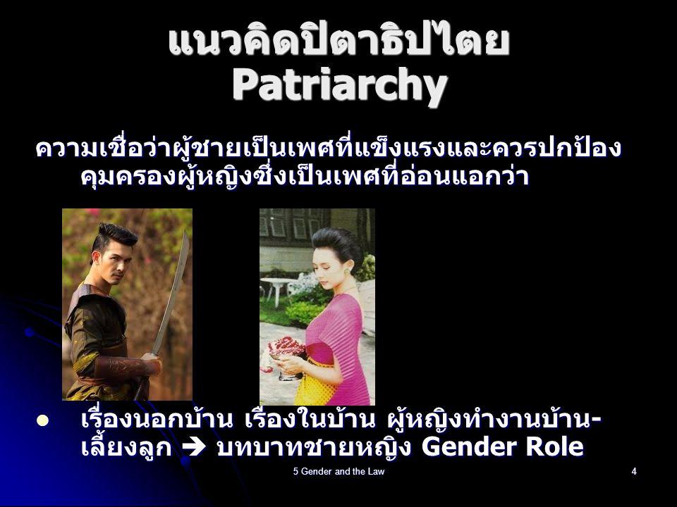 5 Gender and the Law5 Gender Role http://www.youtube.com/watch?v=Rby3UVb2jXw สังคมกำหนด/คาดหวังว่าชาย – ความเป็นชาย, หญิง – ความเป็นหญิง สังคมกำหนด/คาดหวังว่าชาย – ความเป็นชาย, หญิง – ความเป็นหญิง