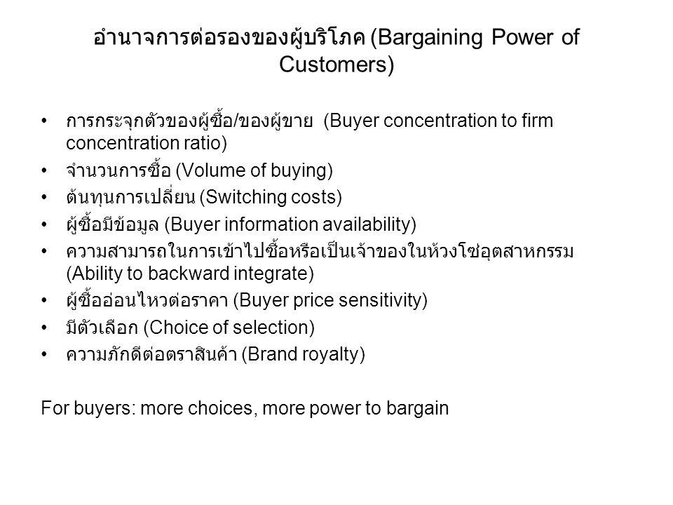 อำนาจการต่อรองของผู้บริโภค (Bargaining Power of Customers) การกระจุกตัวของผู้ซื้อ / ของผู้ขาย (Buyer concentration to firm concentration ratio) จำนวนก
