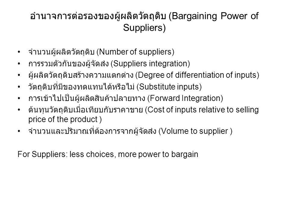 อำนาจการต่อรองของผู้ผลิตวัตถุดิบ (Bargaining Power of Suppliers) จำนวนผู้ผลิตวัตถุดิบ (Number of suppliers) การรวมตัวกันของผู้จัดส่ง (Suppliers integr