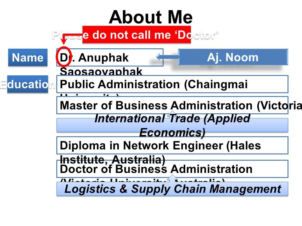About Me Dr. Anuphak Saosaovaphak Aj.