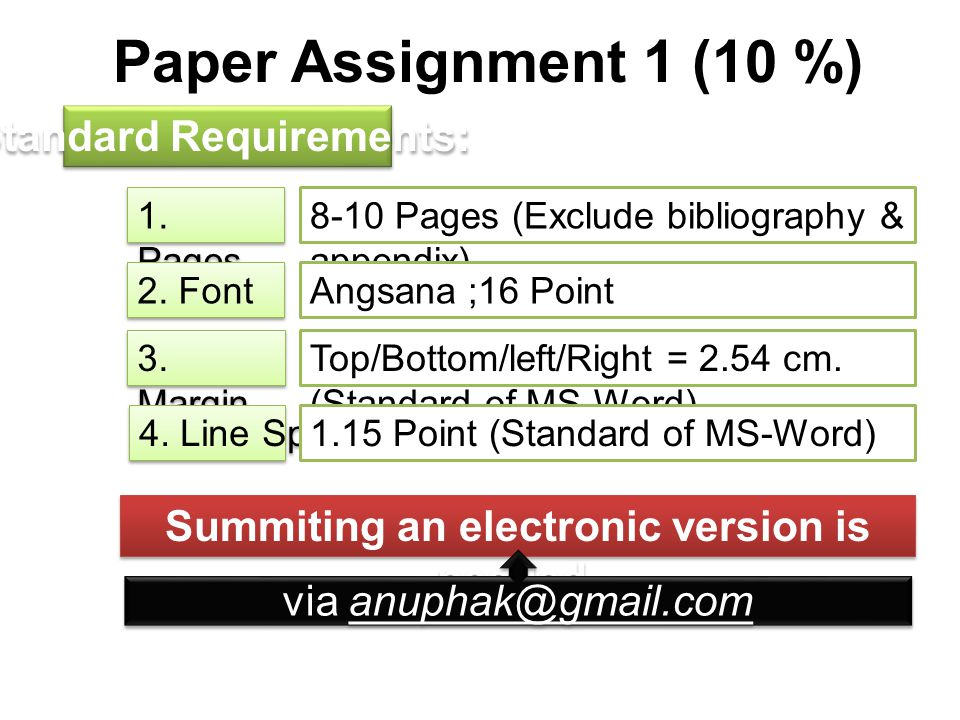 Paper Assignment 1 (10 %) Standard Requirements: 1. Pages 8-10 Pages (Exclude bibliography & appendix) Angsana ;16 Point 2. Font Top/Bottom/left/Right