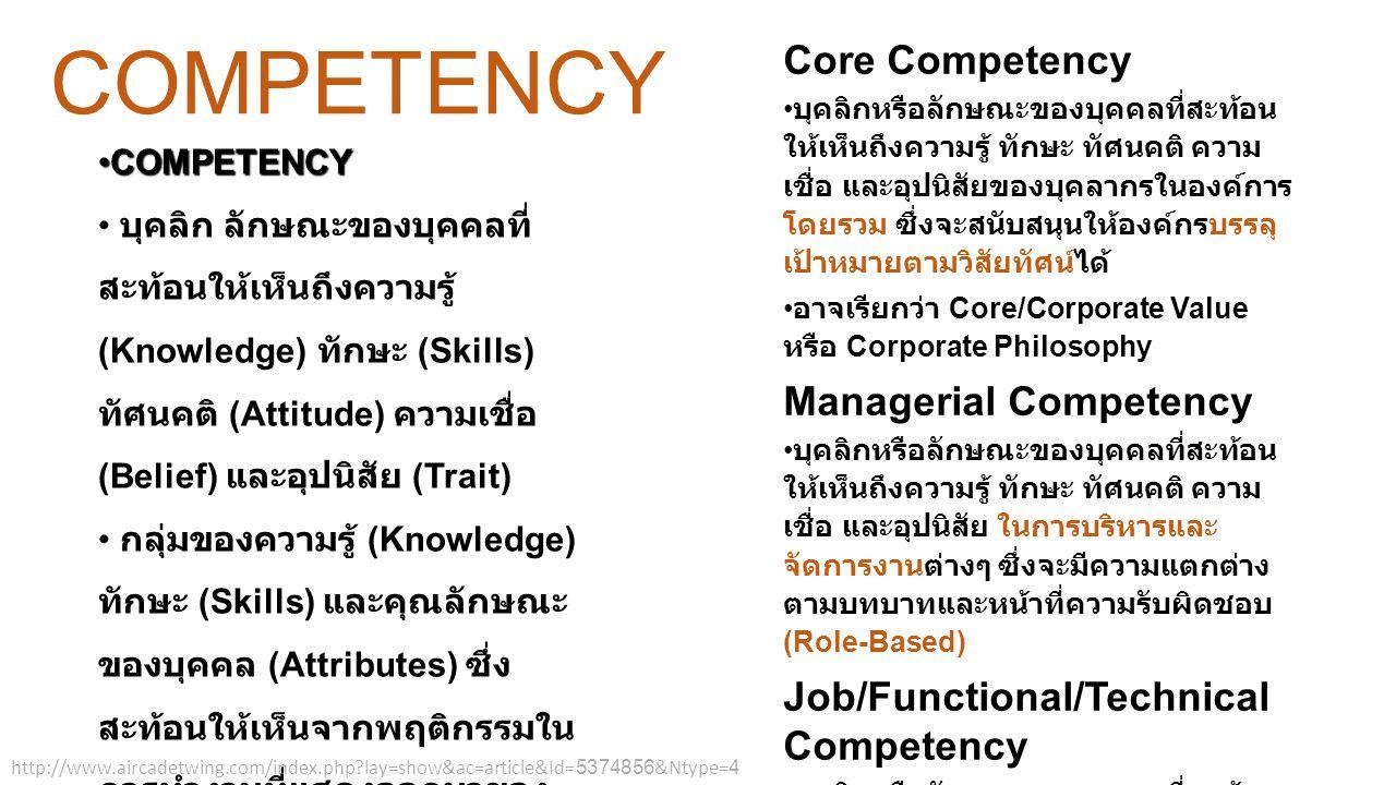 Core Competency คือ ความสามารถที่ องค์กรจะทำได้ดีเพื่ออำนวยประโยชน์ให้แก่ ลูกค้า ยากที่คู่แข่งจะเลียนแบบได้และก็ สามารถยกระดับได้อย่างกว้างขวาง เพื่อ นำไปใช้กับผลผลิตที่หลากหลายของบริษัท มีได้หลายรูปแบบไม่ว่าจะเป็นเทคโนโลยี เทคนิค กระบวนการ การออกแบบและการ พัฒนา วัฒนธรรม การตลาด ทรัพยากร บุคคล กระบวนการผลิต ระบบสารสนเทศ หรือแม้กระทั่งความสัมพันธ์กับลูกค้า แล้วแต่องค์กรไหนจะเก่งด้านใด ที่มีการ นำมาใช้เพื่อให้เกิดความได้เปรียบในการทำ ธุรกิจในตลาด สามารถพัฒนาขึ้นเองภายใน องค์กรผ่านทางการเรียนรู้และการปฏิบัติ และทำให้เกิดความได้เปรียบในการ แข่งขันแบบยั่งยืน องค์ประกอบ Core Competency ประกอบด้วย 1.
