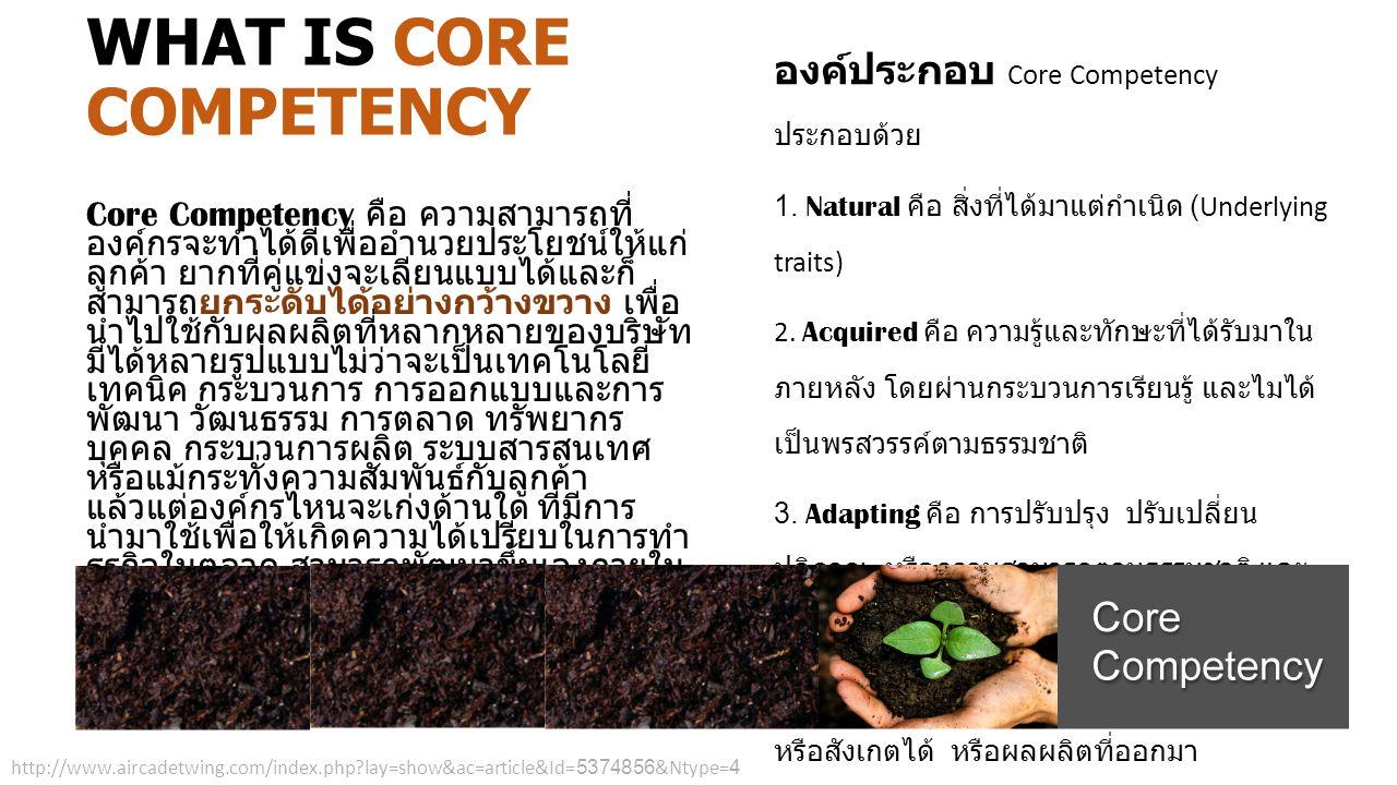 Core Competency คือ ความสามารถที่ องค์กรจะทำได้ดีเพื่ออำนวยประโยชน์ให้แก่ ลูกค้า ยากที่คู่แข่งจะเลียนแบบได้และก็ สามารถยกระดับได้อย่างกว้างขวาง เพื่อ