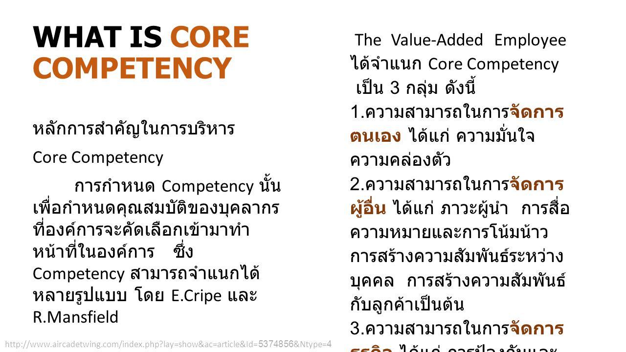หลักการสำคัญในการบริหาร Core Competency การกำหนด Competency นั้น เพื่อกำหนดคุณสมบัติของบุคลากร ที่องค์การจะคัดเลือกเข้ามาทำ หน้าที่ในองค์การ ซึ่ง Comp