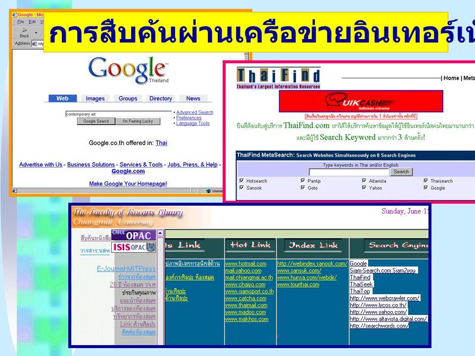 การสืบค้นผ่านเครือข่ายอินเทอร์เน็ต (Internet)
