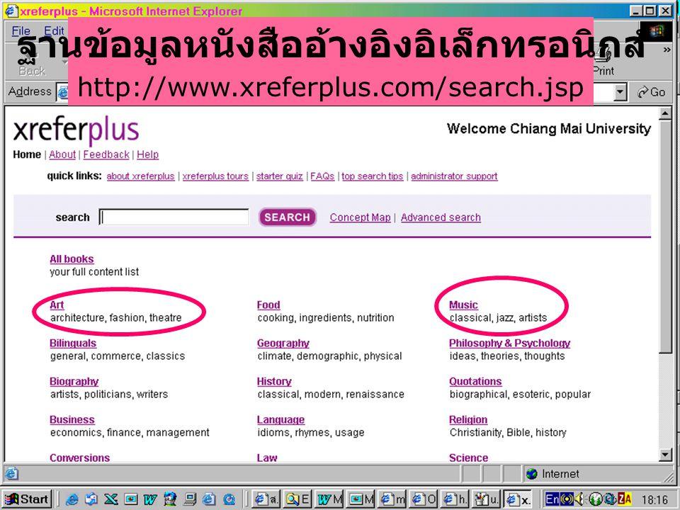 ฐานข้อมูลหนังสืออ้างอิงอิเล็กทรอนิกส์ http://www.xreferplus.com/search.jsp
