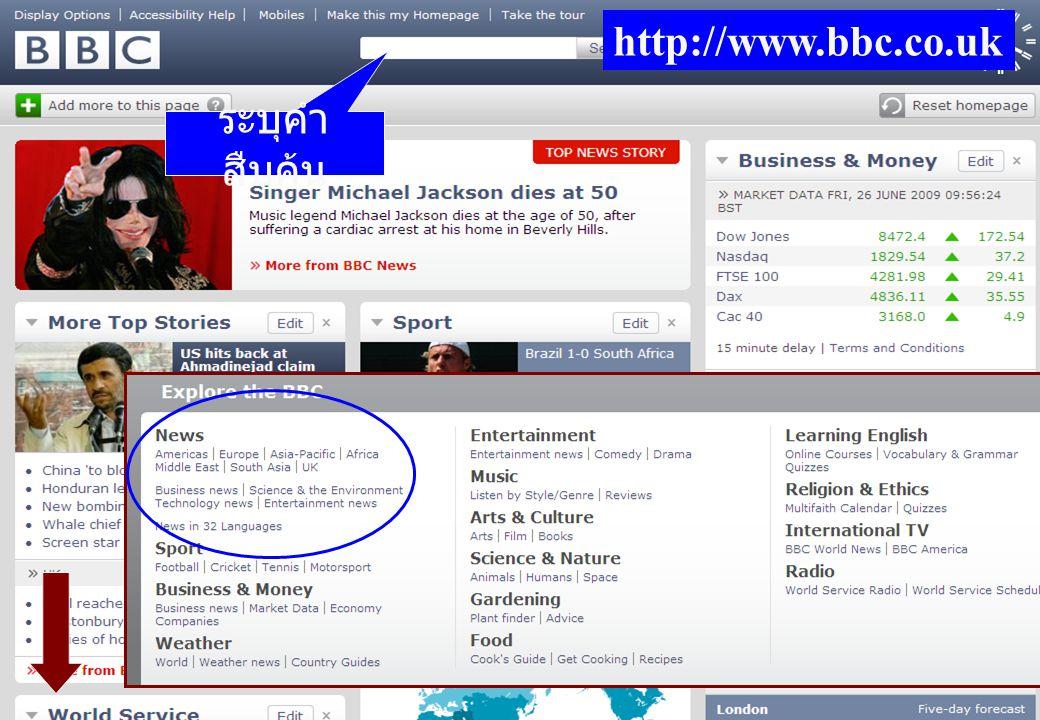 http://www.bbc.co.uk ระบุคำ สืบค้น